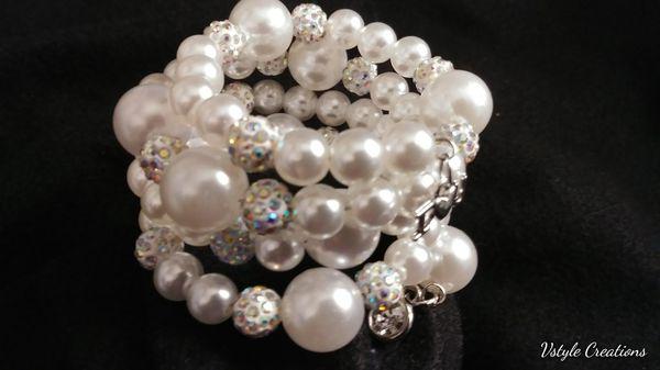 White peral memory bracelet wrap