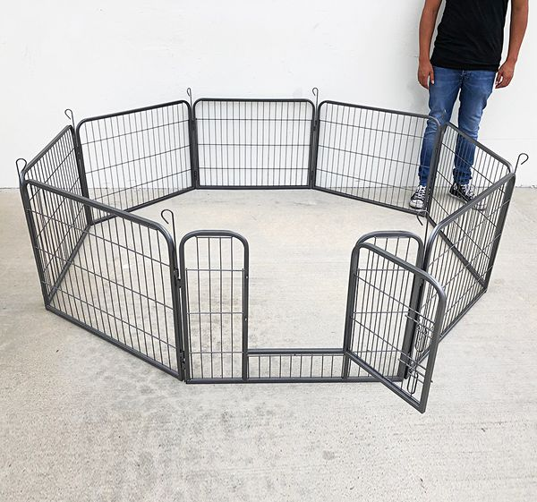 """New $70 Heavy Duty 24"""" Tall x 32"""" Wide x 8-Panel Pet Playpen Dog Crate Kennel Exercise Cage Fence Play Pen"""