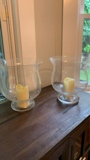 Set of 2 Crate & Barrel hurricane candle holders for Sale in Concord, MA