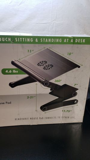 Workez cooling laptop cooling stand standing desk laptop desk fans USB ports mouse pad for Sale in Peoria, IL