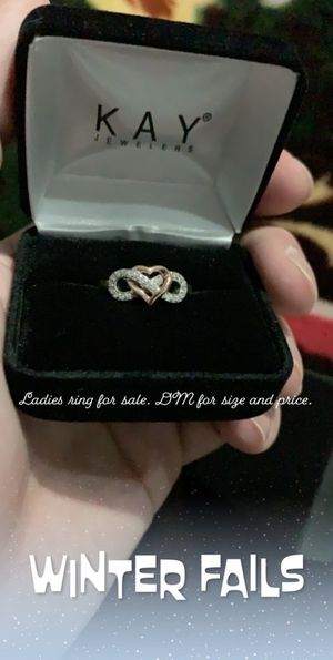 Rose gold and sterling silver Infinity heart ring with diamonds for Sale in Rockville, MD