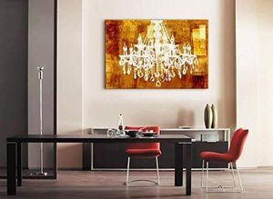((FREE SHIPPING)) Canvas wll art - crystal chandelier on vintage golden background - giclee print and stretched ready to hang Painting like print for Sale in Larkspur, CA