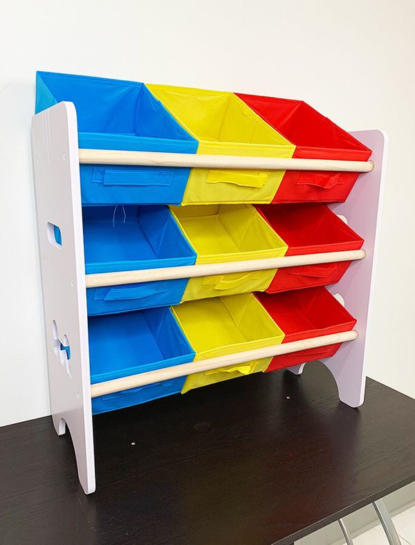 "(NEW) $20 Small Kids Toy Storage Organizer Box Shelf Rack Bedroom w/ 9 Removeable Bin 24""x10""x24"""