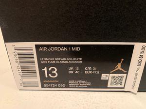 Brand New Air Jordan 1 mid Smoke Grey SZ 13 for Sale in Greencastle, PA