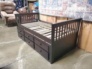 Twin Captain Bed with Trundle and Drawers, Cappuccino for Sale in Santa Ana, CA