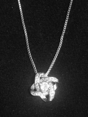 Sterling Silver Necklace / CZ flower petal pendant for Sale in Las Vegas, NV