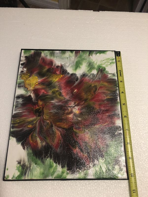 Canvas hand painted with fluid acrylic paint
