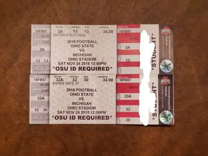 Ohio State vs Michigan 2018 tickets section 3A and 33A for Sale in Columbus, OH