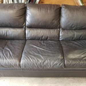 Brown Leather Couch. Real Leather Sits 3 People for Sale in Maple Valley, WA