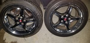 Set de rines mustang 17' two tires like1 like the other 2 used for Sale in Fontana, CA