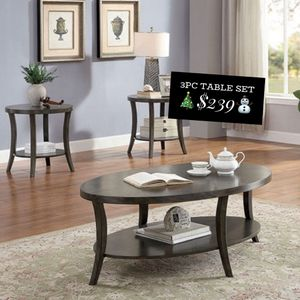 ⛄️COFFEE TABLE + 2 END TABLES‼️ GRAY WOOD.... for Sale in Tulare, CA