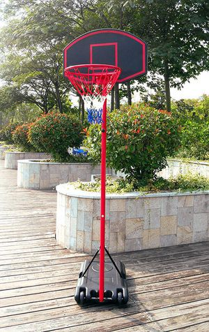 "(NEW) $50 Junior Kids Sports Basketball Hoop 27""x18"" Backboard, 5ft-7ft Adjustable Stand w/ Wheel for Sale in Whittier, CA"