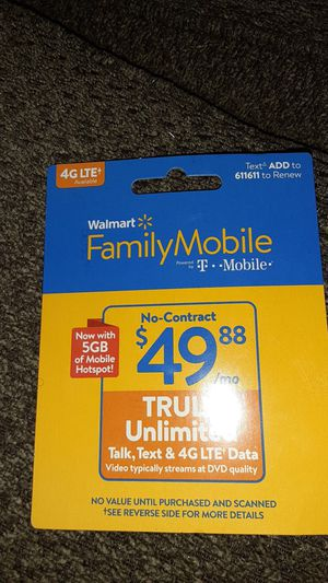 Walmart family mobile reup card for Sale in Kansas City, MO