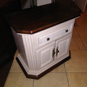 Shabby chic farm house night stand drawer and a cabinet for Sale in San Diego, CA