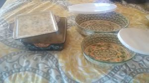 Temptations cookware, Pyrex dish,and bird glasses for Sale in Denver, NC