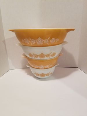 Vintage butterfly gold pyrex mixing bowls for Sale in Spring, TX