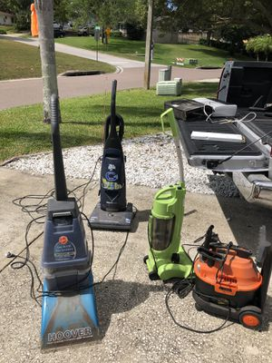 Multiple vacuum wet vac and steam cleaners all working for Sale in Palm Harbor, FL