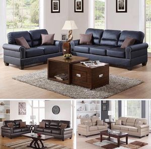 2-Pc Sofa Set. FAUX LEATHER Loveseat & Sofa w/ 4 Accent Pillows. On Sale Only $599 We have fast and easy layaway options. All you need is your a for Sale in Chino, CA