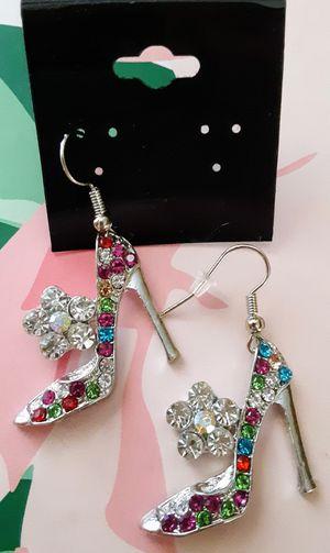 New silvertone colorful crystal high-heel shoe dangle earrings for Sale in Fullerton, CA