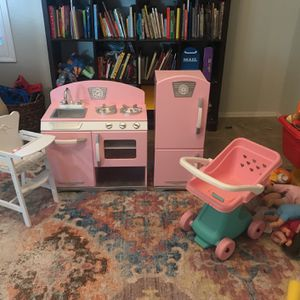 Pink Wooden Play Kitchen, Stroller, and High Chair for Sale in Chandler, AZ