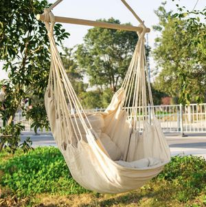 Hanging Rope Hammock Chair Swing Seat, Large Brazilian Hammock Net Chair Porch Chair for Yard, Bedroom, Patio, Porch, Indoor, Outdoor - 2 Seat Cushio for Sale in Tampa, FL