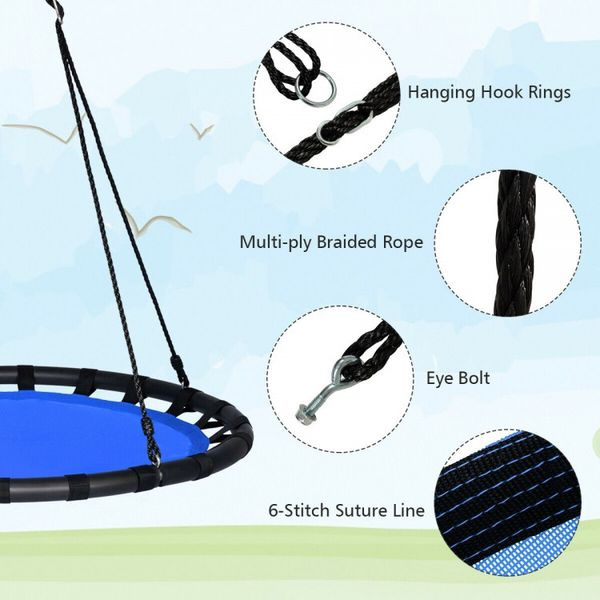 Blue Flying Saucer Round Swing Kids Play Set