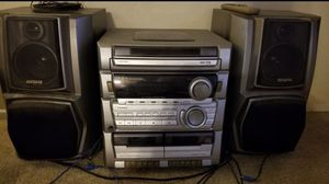 LOUD Aiwa Stereo System - 5 cd changer, 2 cassette players, 2 speakers, remote for Sale in Pico Rivera, CA