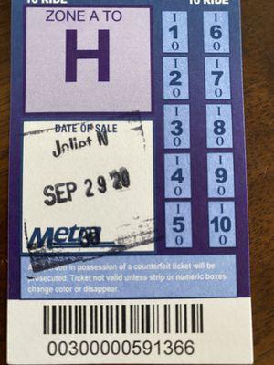 Metra Ten Ride Tickets (8) for Sale in Joliet, IL
