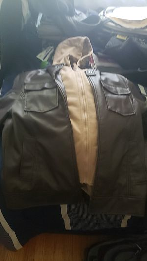 Small Leather jacket with hoodie built in for Sale in Concord, CA