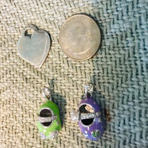 Sterling Silver Charms 2 Baby Shoes & Tiffany style heart for Sale in Heathrow, FL