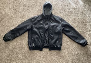 Faux Black Leather Jacket with detachable hoodie, Wantdo for Sale in Orlando, FL