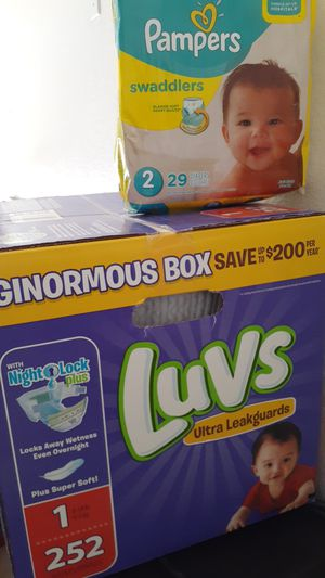 New Luvs Ginormous box and Pampers soft pack size 1 and 2 for Sale in Surprise, AZ