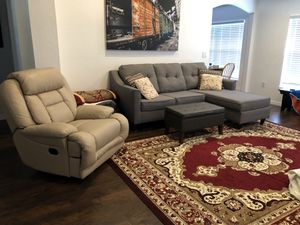 Sofa w Reversible Chaise and Recliner. Excellent Condition. No Stains Etc.. 375.00 For Both. Will Not Sell Separate. Throw Pillows Included. Must Pic for Sale in Avon Park, FL