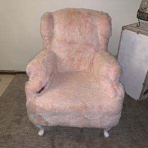 Pink fuzzy antique chair for Sale in Portland, OR