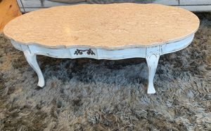 Coffee table with marble top and wood base- antique, 9x12 silver shag rug, living room sofa with high top for Sale in Seattle, WA