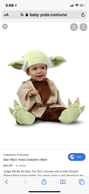 BabyYoda costume 0-3months for Sale in Rancho Cucamonga, CA