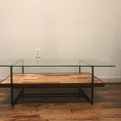 Wooden Coffee Table with Glass Top for Sale in Houston,  TX