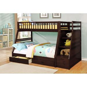 JAVA TWIN/FULL BUNK BED WITH STORAGE STAIRCASE for Sale in Dearborn, MI