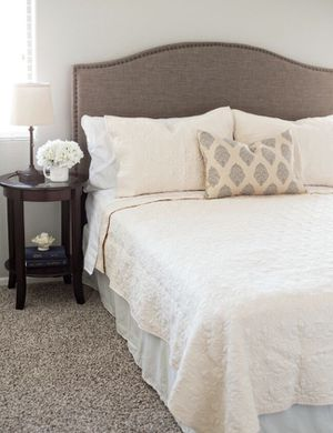 """King Size Bed Frame, Wayfair Headboard, Lucid 12"""" Plush Memory Foam Mattress and Box Springs for Sale in Summerlin South, NV"""