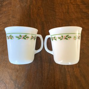 Vintage corelle corning Pyrex coffee mugs holiday Christmas for Sale in Garden Grove, CA