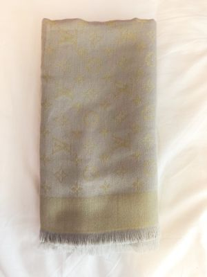 Louis Vuitton LV logo monogram scarf wrap shawl grey gold for Sale in Arlington, TX