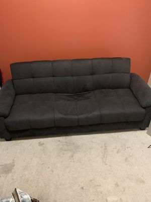 Charcoal Grey Suede Futon for Sale in Roswell, GA