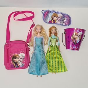 Disney Frozen Toys and Accessories lot: Elsa & Anna doll, kids purse, bucket etc for Sale in St. Petersburg, FL