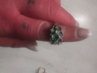 Sterling Silver Green & CZ Stone Ring - Size 9 for Sale in Aurora,  CO
