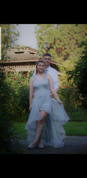 Gray lace and tulle high low homecoming/ prom dress for Sale in Yelm, WA