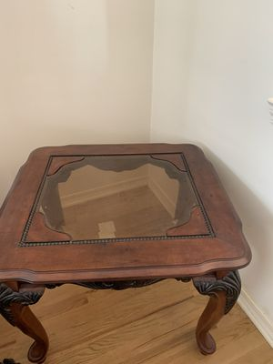 Set-Large Coffee table and corner table with thick glass for Sale in Canton, MI