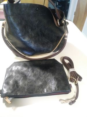 Large black faux leather purse with smaller purse included for Sale in Holladay, UT