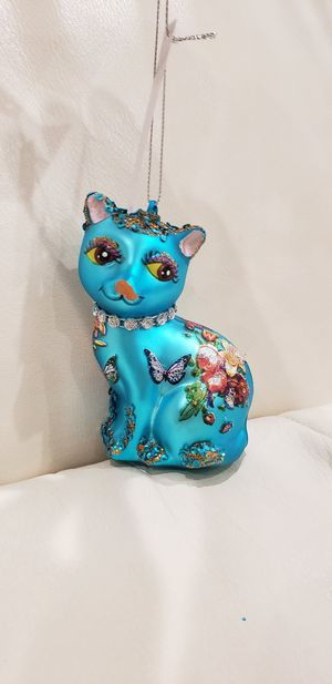 """Butterfly floral cat animal decoration. Blue cat glass Christmas tree ornament 4x3"""" brand new with tags with for Sale in Escondido, CA"""