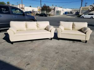 NEW CREAM LEATHER COUCHES for Sale in San Fernando, CA