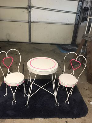 Antique child Doll or teddy bear Three-piece ice cream parlor furniture set for Sale in Cedar Park, TX